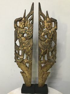 2 Wooden Gilt Carvings. Burma (Mandalay) - 19th century.