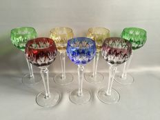 7 high coloured and cut crystal wine glasses