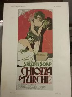 Art Nouveau - Marcello Dudovich, advertising poster for  Chiozza Turks, 1900 - Original chromo-lithograph print from Pluma y Lapiz