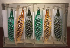 Six large vintage German glass pine-cone styled Christmas ornaments with box.