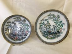 J & M.P. Bell - model Pekin, Early Chinoiserie handpainted and early  transferprint plate and dish, rare: made 1 by painter H&K, 1 by  painter J.B.