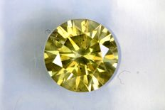 Fancy DEEP Greenish Yellow - 1.48 ct - Excellent Cut - * NO RESERVE PRICE *
