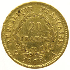 France – 20 Francs 1808A – Napoleon – gold
