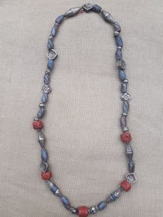 Necklace with silver elements, Afghanistan, and Krobo glass beads