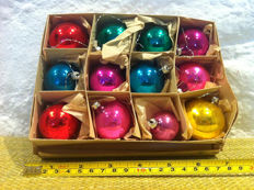 Box of 12 vintage German made multi-coloured glass Christmas ornaments.