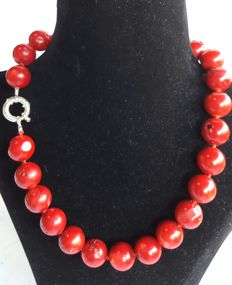 925 silver - Long necklace with XL Coral - Length:  45 cm