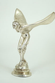 Chrome-plated bronze statue of 'The Flying Lady' - Rolls-Royce Mascot - 2nd half 20th century