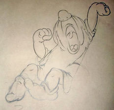 Disney Studios - Original Production Drawing - Sleepy - Snow White and the Seven Dwarfs (1937)