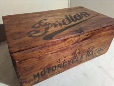 Old garage tool chest with Indian Motorcycles prints