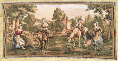 A machine woven tapestry with 18th Century Live Scenes - Mid of 20th Century - France - 89 cm x 47 cm