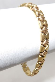 Bracelet in 18 kt two-toned gold, shine and matte 20 cm