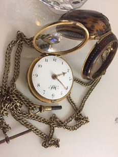 1800`s - William Wood London - verge fusee tortoiseshell pair case gold plated/filled pocket watch