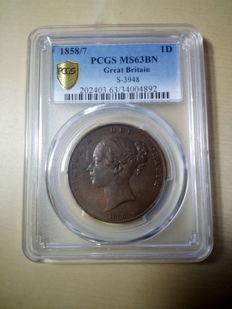 United Kingdom - Penny 1858/7 Victoria in PCGS Slab - copper