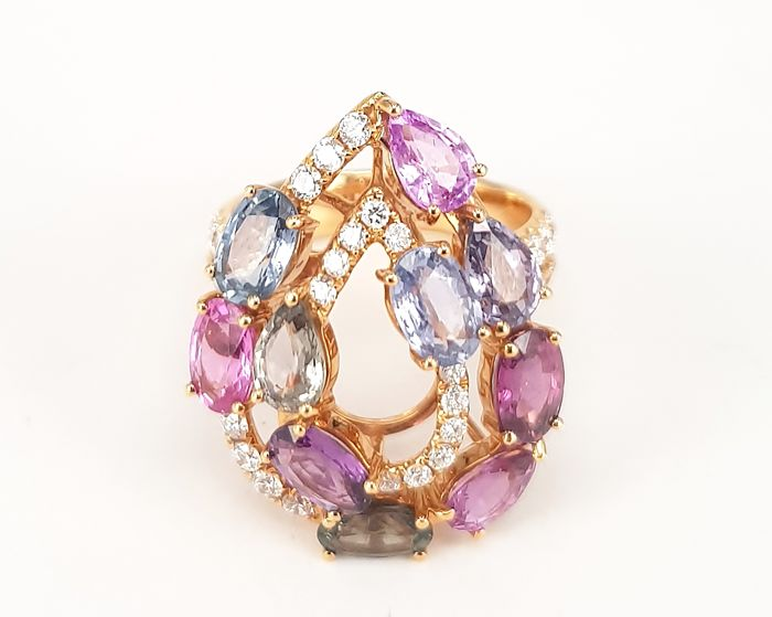 Multi-Color Sapphire- 5.55 carats and White Diamond- 0.89 carats Ring in 18 kt Rose Gold- FREE SHIPPING