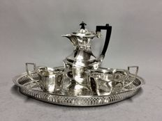 Silver plated coffee set, on a serving tray, Cameo Plate, Sheffield, England, ca. 1940