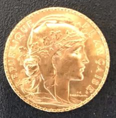 France - 20 Francs 1913 'Coq Marianne' - gold