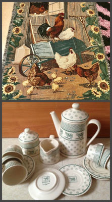 """Service earthenware """"Margueritte"""" designer Genevieve LETHU 1996 and plaid tapestry Art Deco"""