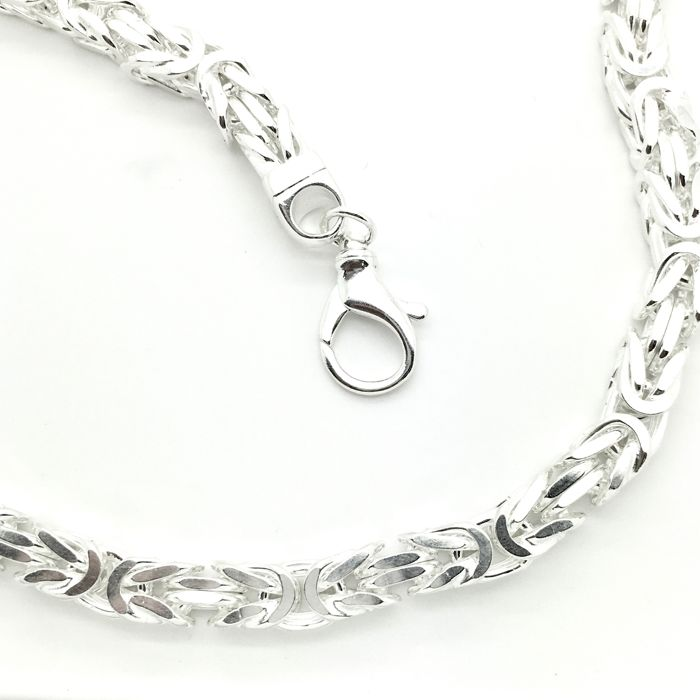 .925 thick and long silver king's braid necklace - Ø diameter 8.7 mm - Length: 69 cm - Weight: 263.02 grams