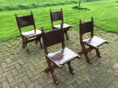 Set of four monastery (refectory) chairs - mid 20th century