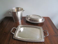 Silver plated champagne cooler - tray and chafing dish