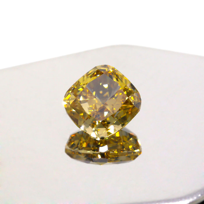 3.07 Ct. Natural Fancy Deep Brownish yellow Square Cushion shape Diamond, GIA