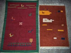 Vintage Nomad Gabbeh Carpet and Kilim, 2 pcs - India - The end of the 20th century