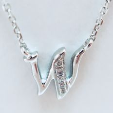 18 kt white gold initials necklace with letter 'W' set with diamonds - 0.015 ct G/SI - length 40 cm