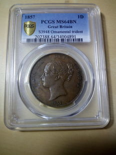 United Kingdom - Penny 1857 Victoria in PCGS Slab - copper