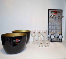 Martini bottle holder for 2 bottles, 2 Martini bottle coolers and 8 Martini glasses