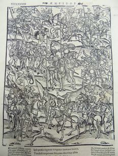 Gruninger Master; Virgil - Crespin Edition; The Council of War; Knights with banners on Horseback. Turnus assembles his army and prepares to drive the Trojans out of Italy. - 1529