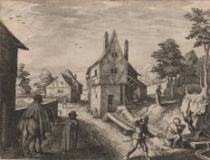 Matthäus Merian the elder (1593-1650) - Figures in a village street - Ca. 1620