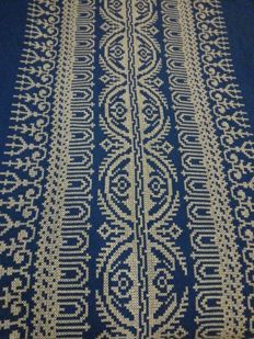 Large tablecloth with woven pattern, Belgium
