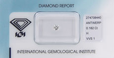 DIAMOND WITH IGI CERTIFICATE 0.182 ct, COLOUR: H, CLARITY: VVS1 IN BLISTER-PACK