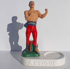 "Old advertising figurine of bar, in ceramic for the ""Antique"" whisky USA"