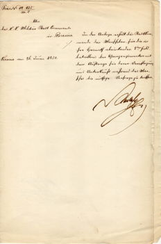 Military dispatch signed by General Joseph Radetsky - 1850
