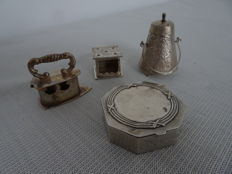 Four silver objects, including three Dutch silver miniatures and a German silver box