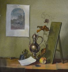 Dutch School (20th century) - Still life of ewer, fruit and hanging painting