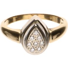 18 kt Yellow gold ring set with 8 diamonds - Ring size: 18.75 mm