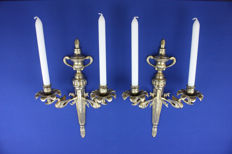 Large brass candlesticks, France, first half 20th century