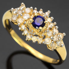 14K Gold Ring set with 0.22 cts Sapphire and 0.32 ct Diamond, Ring Size US 7 - No reserve price