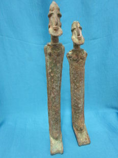 Couple of statues in bronze DOGON - Mali