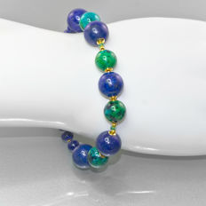 Lapis lazuli and Chrysocolla bracelet with Emeralds – Length 21 cm, 14kt/585 yellow gold clasp