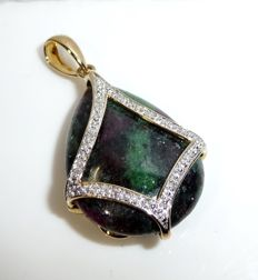 Reversible pendant made of 9 kt / 375 gold ruby zoisite with ruby matrix + 12 diamonds - reversible