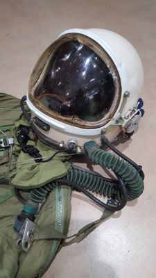 MIG fighter pilot helmet and pressurized jumpsuit for high-altitude flights