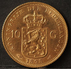 The Netherlands - 10 guilders 1898 b Wilhelmina - gold