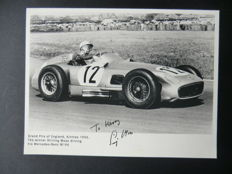 Beautiful old black and white photo of Stirling Moss with original signature including certificate of authenticity