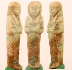 Ancient Egyptian faience ushabti - ca. 7,5 cm - c. 2,95 inches