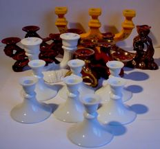 Lot with 14 ceramic candlesticks