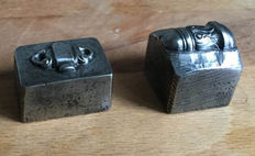 Two antique French factory stamps (moulds) for jewellery making - approx. 1900 - France