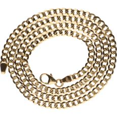 14 kt yellow gold curb link necklace - length: 45 cm